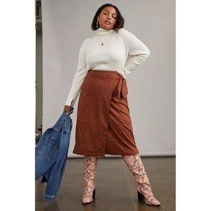 ANTHROPOLOGIE New Lauren Sueded Wrap Midi Skirt